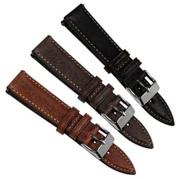 Contoured Handmade Italian Leather Short Quick Release Watch Strap
