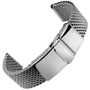 German Premium Thick Polished 316L Stainless Steel Mesh Watch Strap