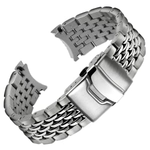 Beads of Rice Solid Curved Ends Watch Strap for Geckota G-02