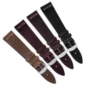 Clanville Vintage Horween Chromexcel Leather Dress Watch Strap - Free Spring Bar Tool Offer!