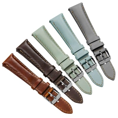 Kington Vintage Style Short Leather Dress Watch Strap