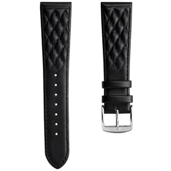 Diamond Quilted Genuine Leather Watch Strap