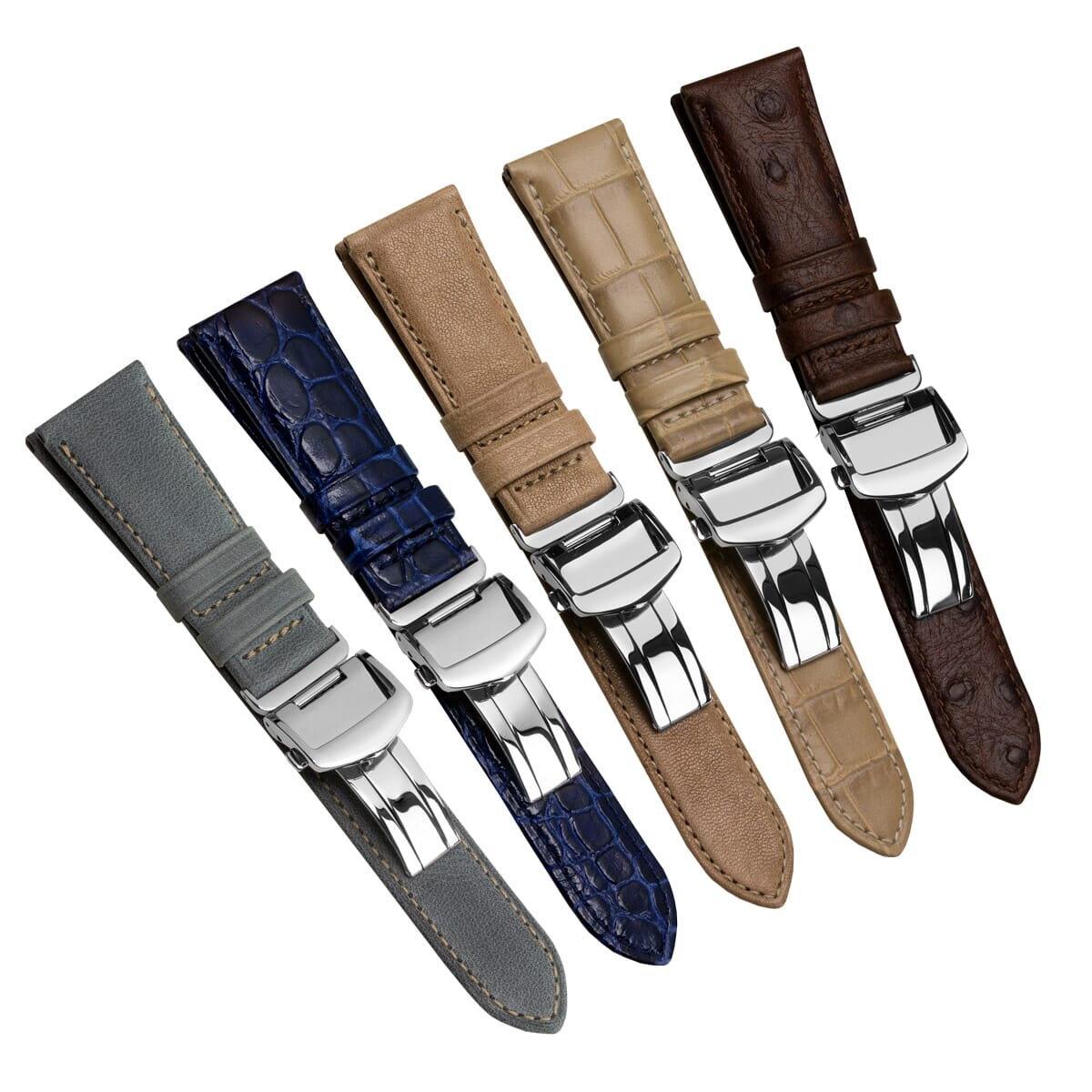 Genuine Leather Watch Straps With Deployant Buckles